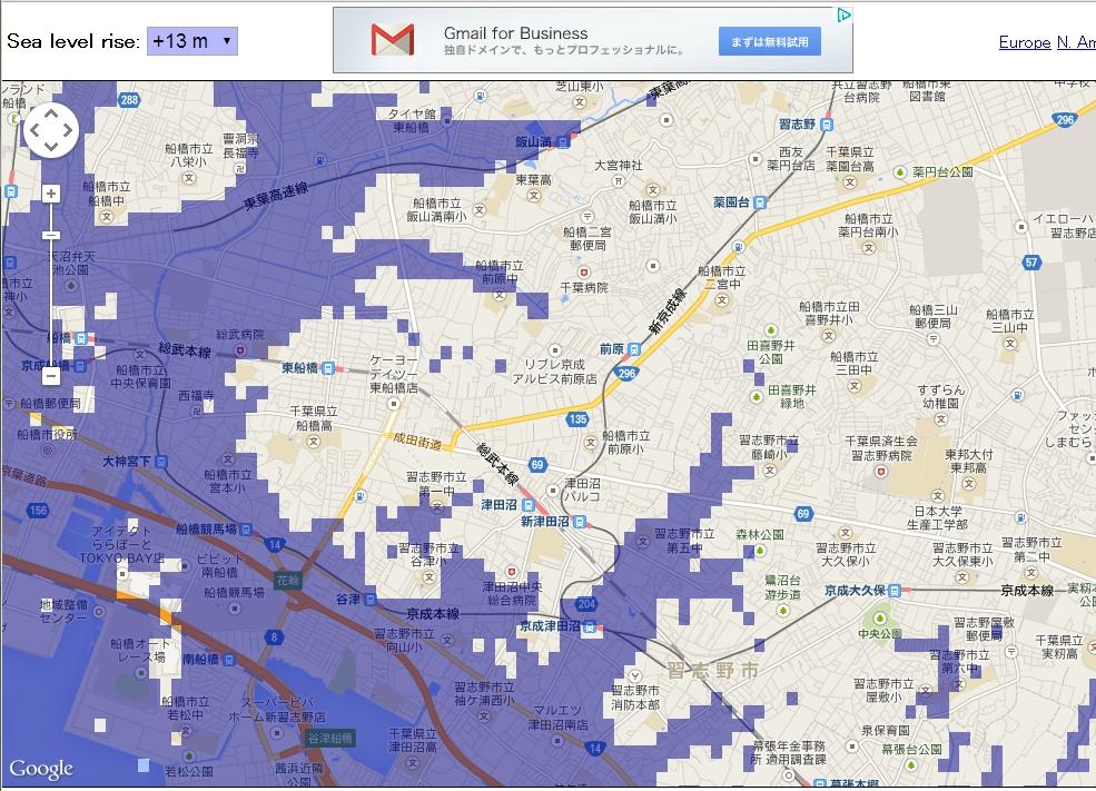 洪水マップ(津田沼周辺)
