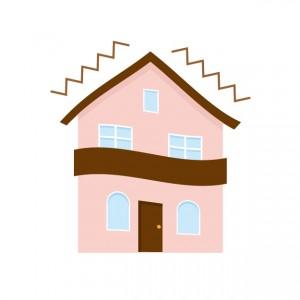 地震を受ける家のイメージイラスト