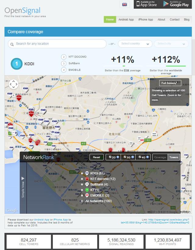 携帯電話の基地局の地図