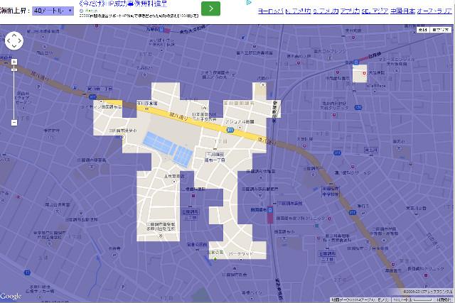 田園調布駅近辺のフラッドマップ