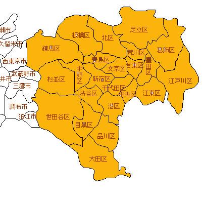 東京23区白地図