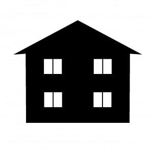 シンプルな形状の家