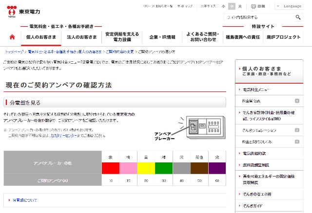 分電盤の色で電気容量を判断
