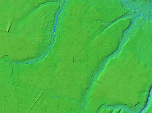 八千代台駅近辺の標高図