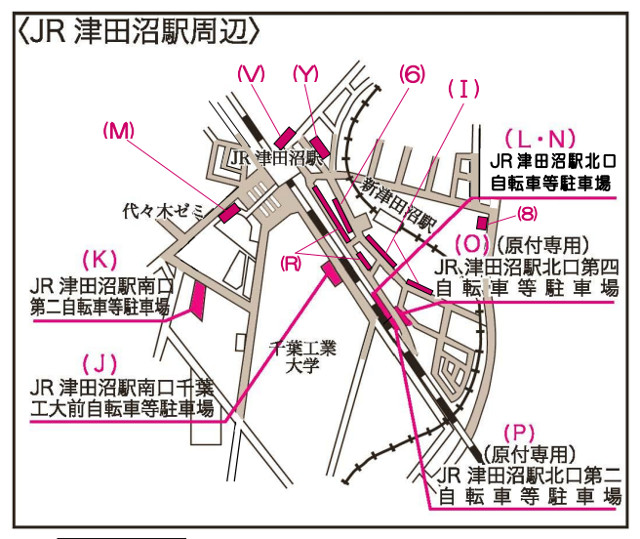 JR津田沼駅の駐輪場の場所