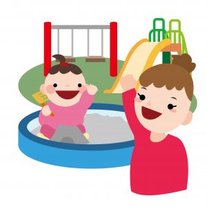 小さな子供と公園