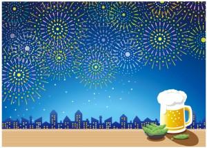 花火とビール