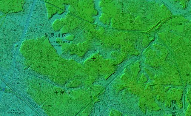 新検見川駅周辺の色別標高図