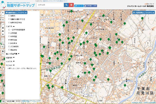 公園を示した地図