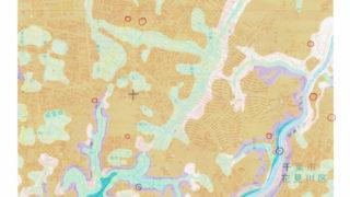 ふくろう不動産周辺の自然地形と神社の位置